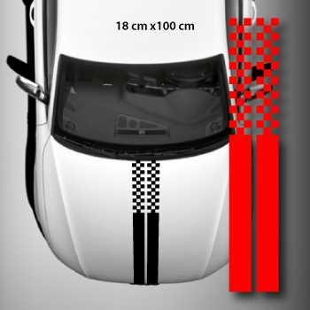 kit stickers bandes doubles capot auto damiers racing. Black Bedroom Furniture Sets. Home Design Ideas