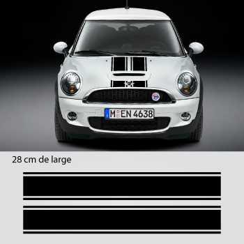 mini triple stripes stickers set hood roof trunk. Black Bedroom Furniture Sets. Home Design Ideas
