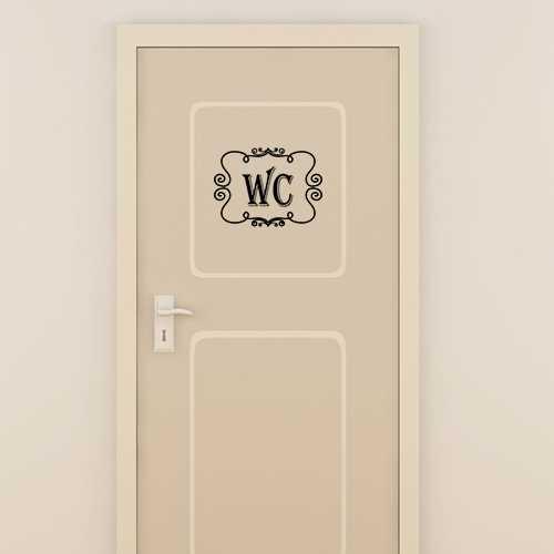 vintage wc door decorative decal. Black Bedroom Furniture Sets. Home Design Ideas