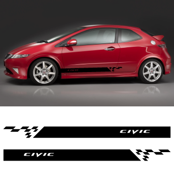 Car Side Honda Civic Stripes Stickers Set - Honda civic decal stickers