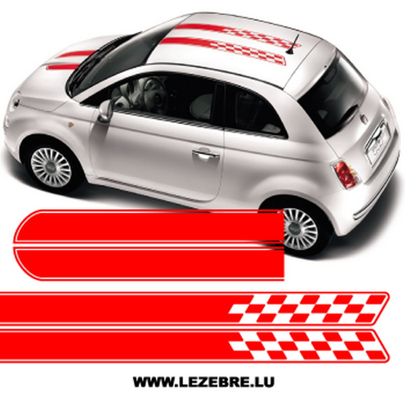 Fiat 500 Racing Checkered Stripes Decals Kit