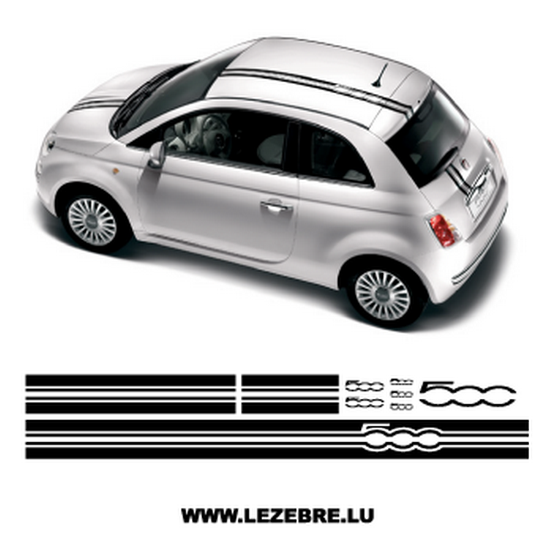 kit bandes sticker fiat 500. Black Bedroom Furniture Sets. Home Design Ideas