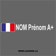Kit 2 Autocollants Drapeau Français nom, prénom et groupe sanguin pour votre vélo