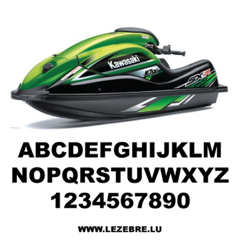 Set of 2 jet ski registration stickers to customize Arial Black