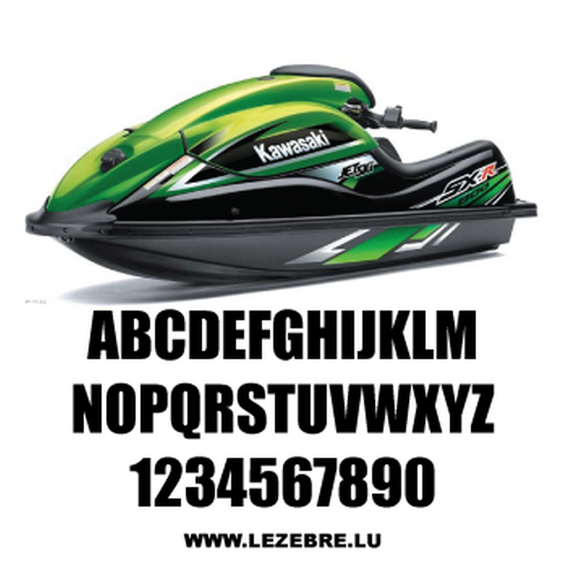 Set of 2 jet ski registration stickers to customize Impact
