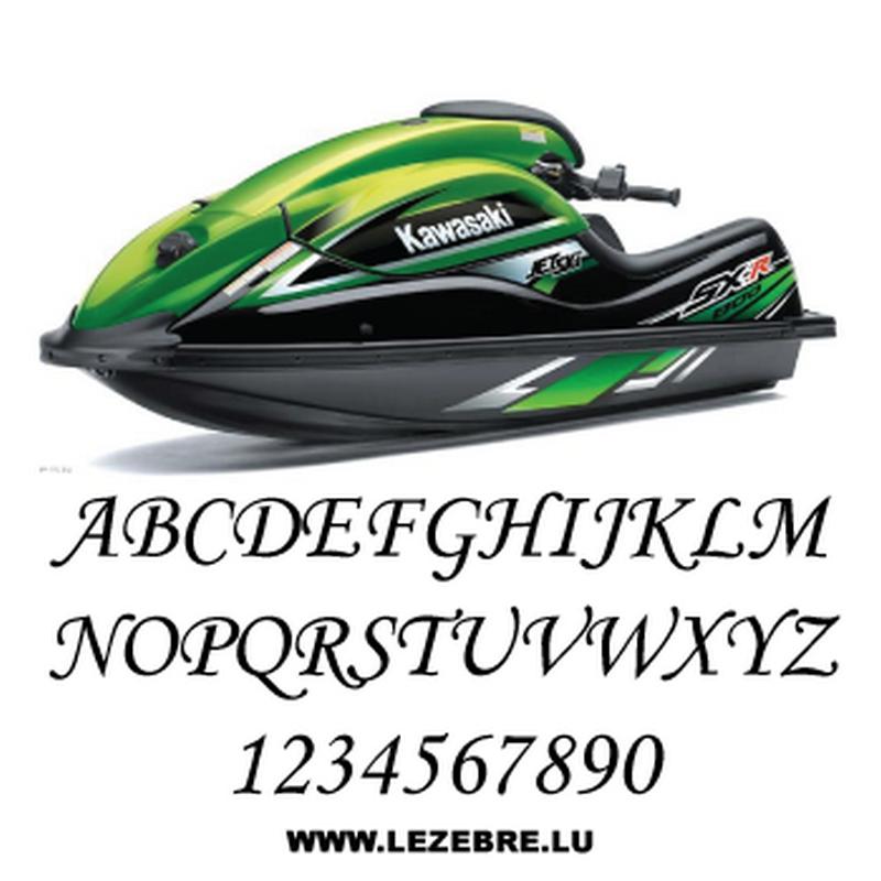 Set of 2 jet ski registration stickers to customize Monotype