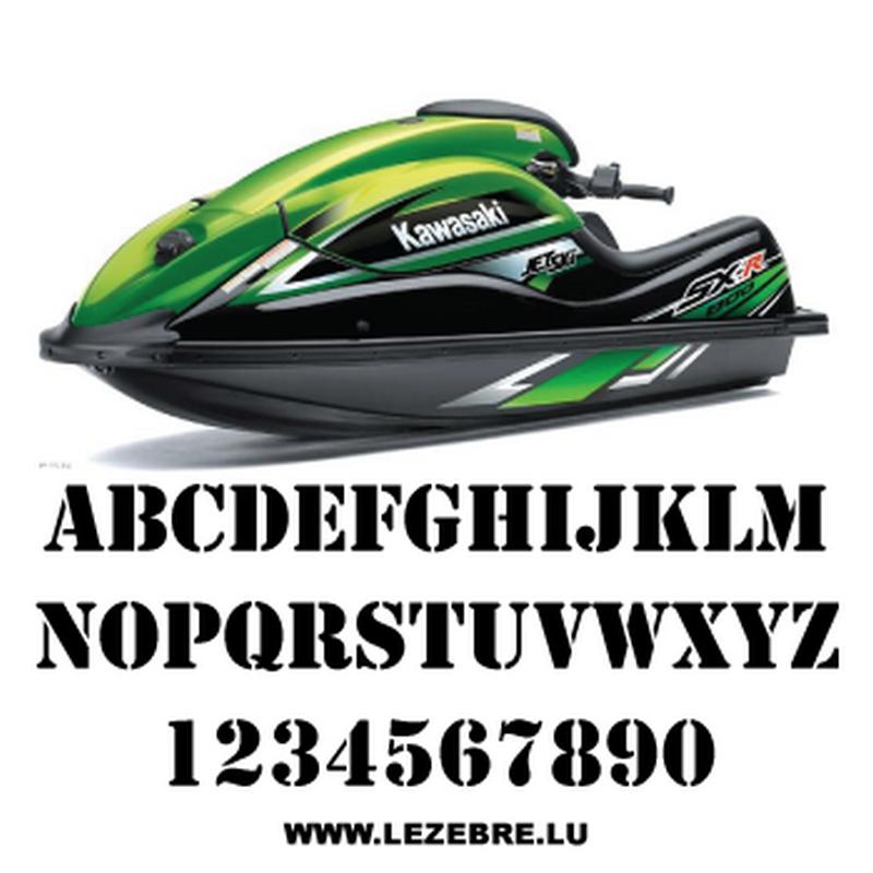 Set of 2 jet ski registration stickers to customize Stencil