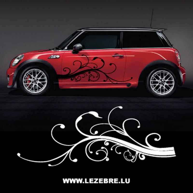 Kit stickers Auto Latérales Ornements Fleurs