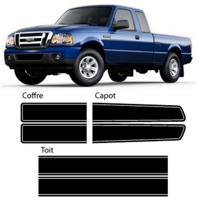 kit stickers bandes ford ranger autocollant. Black Bedroom Furniture Sets. Home Design Ideas