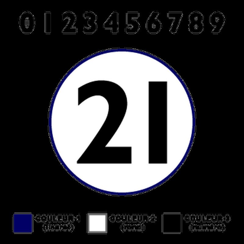 Kit de 2 Stickers Fond Numéros Course avec Liseret à Personnaliser