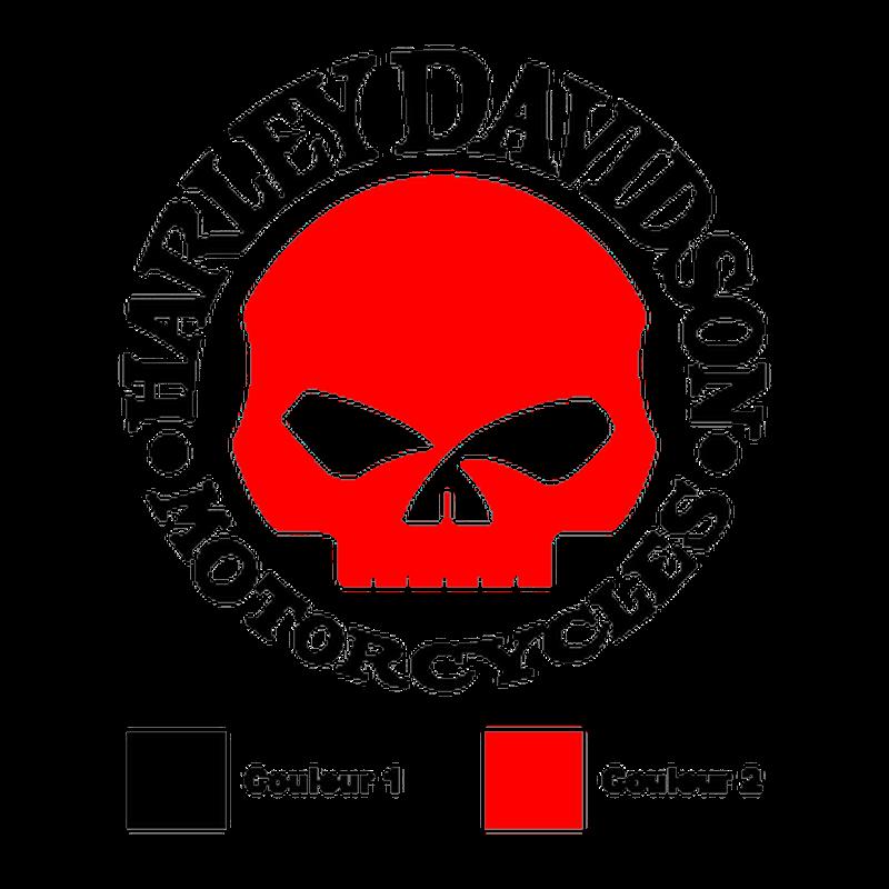 Sticker Harley Davidson Skull en 2 Couleurs au Choix ★