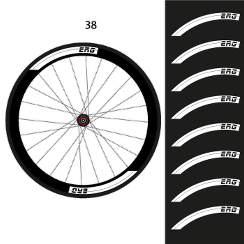 Set of 8 ERG Bike Wheels Decals 38mm