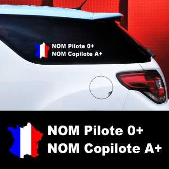 Kit de 2 Stickers Auto Pilote et Copilote France à Personnaliser
