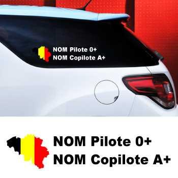 Kit de 2 Stickers Auto Pilote et Copilote Belgique à Personnaliser