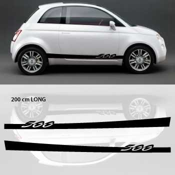kit stickers bandes bas de caisse voiture fiat 500. Black Bedroom Furniture Sets. Home Design Ideas