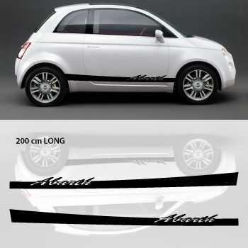 Kit Stickers Bandes Bas de Caisse Voiture Fiat Abarth