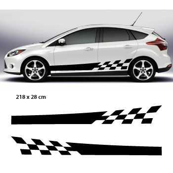 kit stickers bandes bas de caisse voiture racing damiers. Black Bedroom Furniture Sets. Home Design Ideas