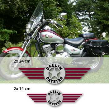 Kit de 4 Stickers Réservoir Moto Daelim DayStar Logo (Bordeaux, Noir et Chrome)