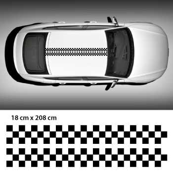 Checkered racing car roof stripes decal