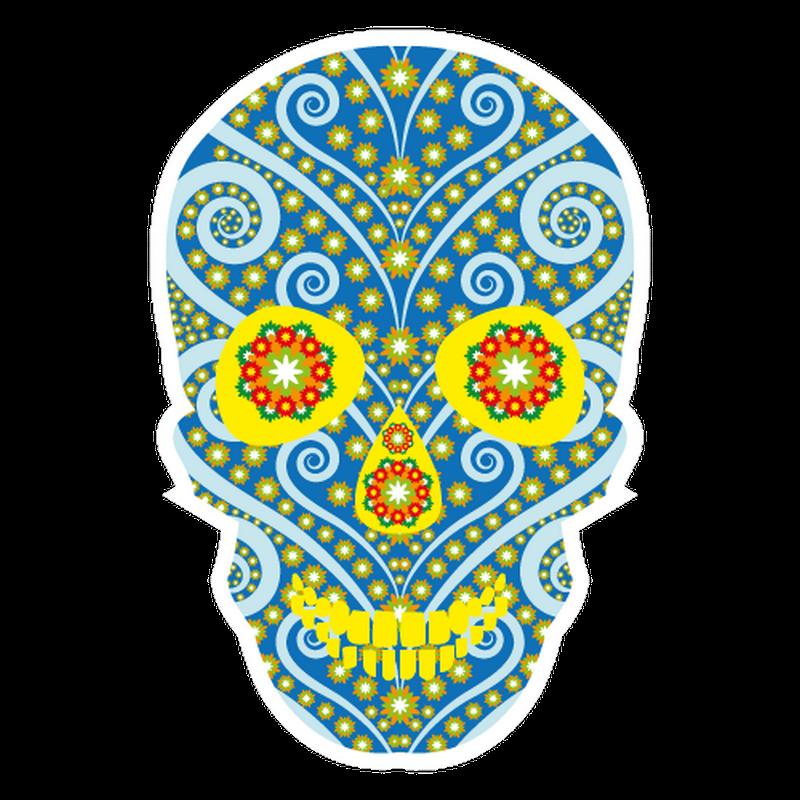 Skull flowers decal