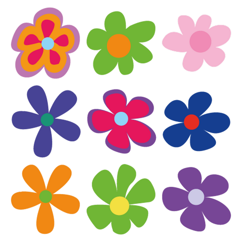 Flowers decoration decals set