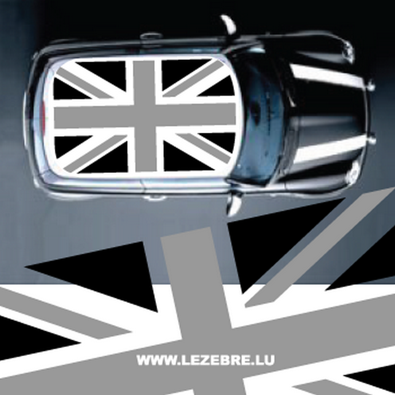 mini union jack black and grey flag roof decal. Black Bedroom Furniture Sets. Home Design Ideas