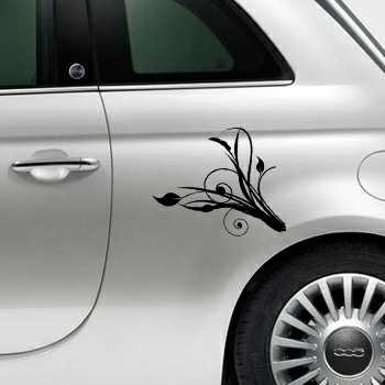Ornament flowers design Fiat 500 Decal