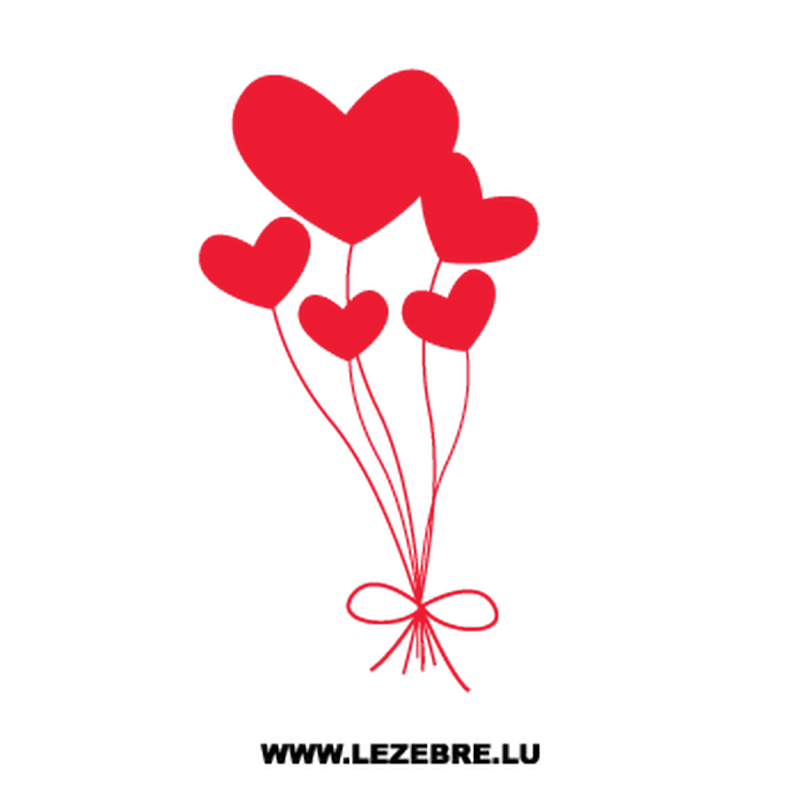 Hearts Balloons Decal