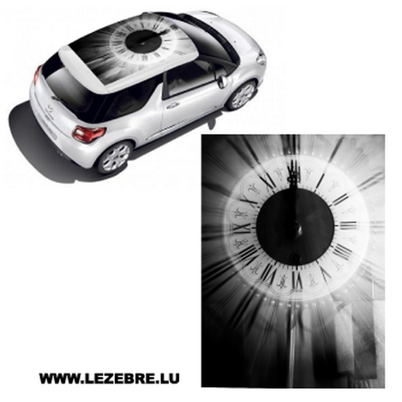Clock car roof sticker