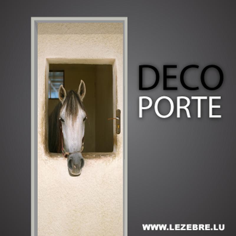 autocollant pour porte cheval. Black Bedroom Furniture Sets. Home Design Ideas