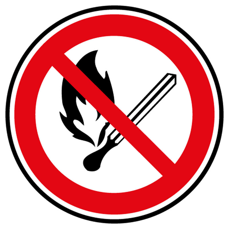 Decal open flame prohibited