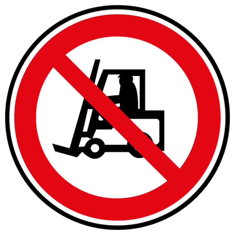 Sticker interdit vehicules manutention