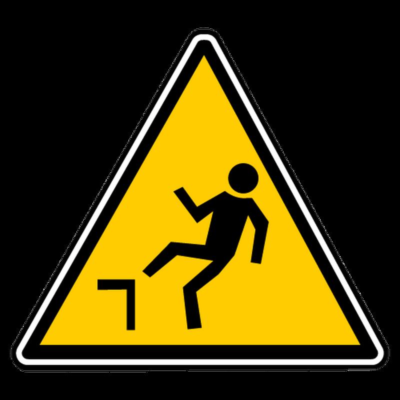 Decal falling slope danger