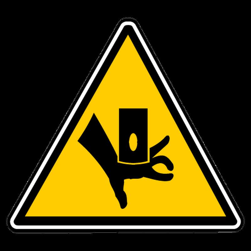 Sticker danger ecrasement mains