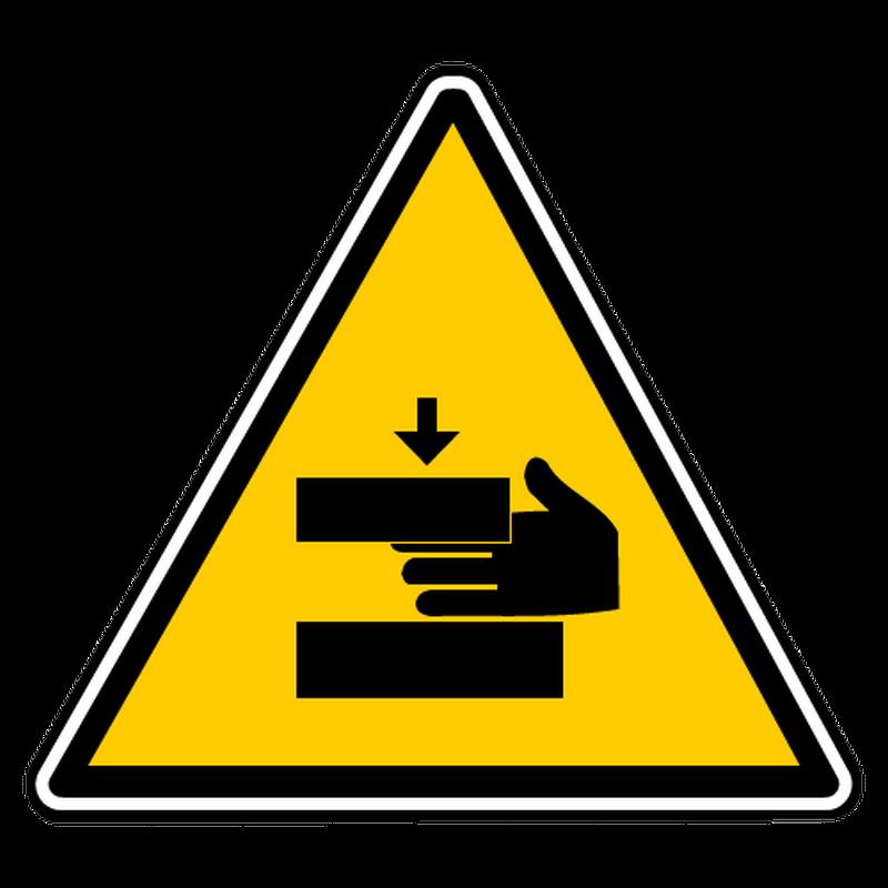 Sticker danger ecrasement mains 2