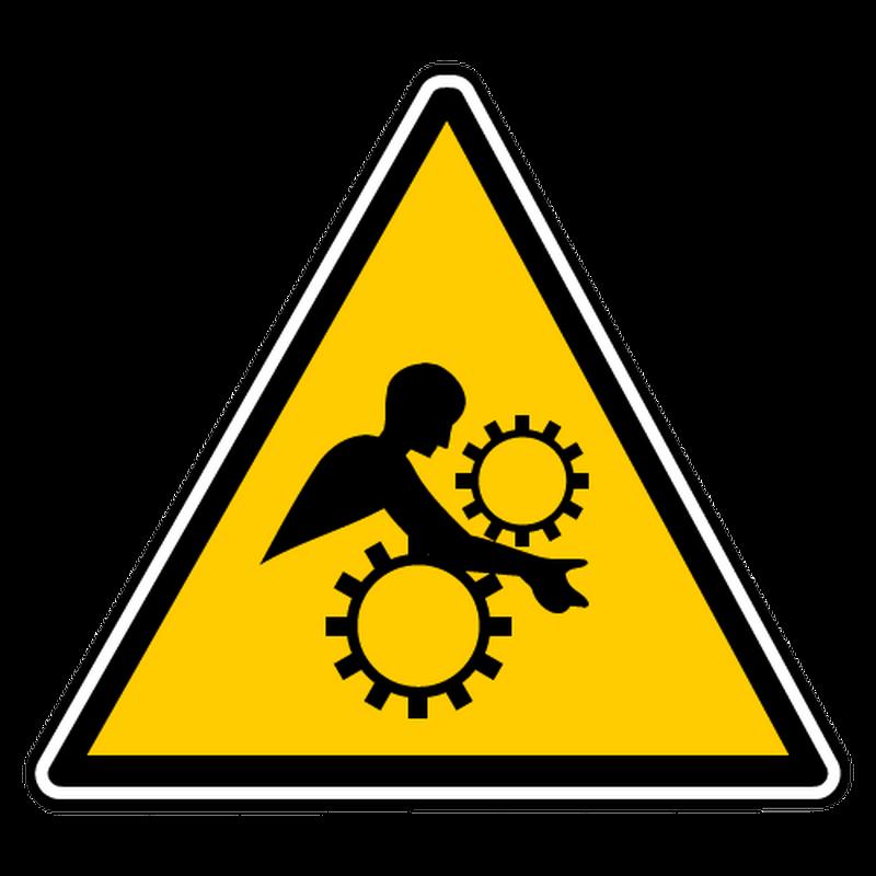Sticker danger engrenages non proteges