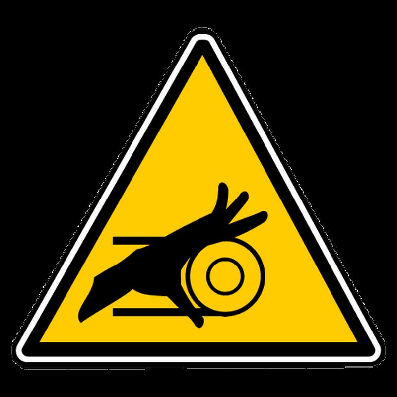 Decal danger gears belt