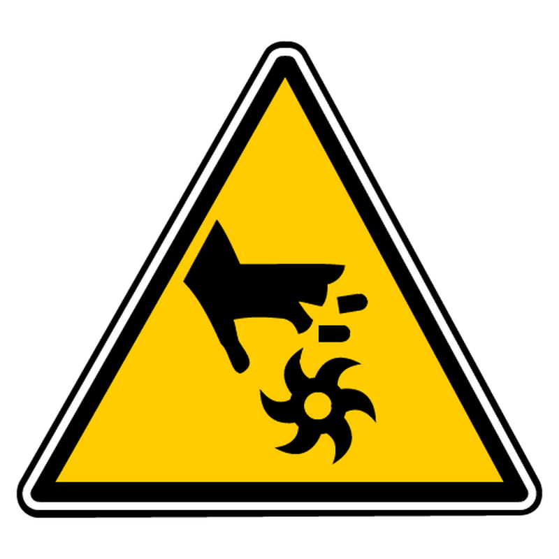 Sticker danger lames rotatives non protegees