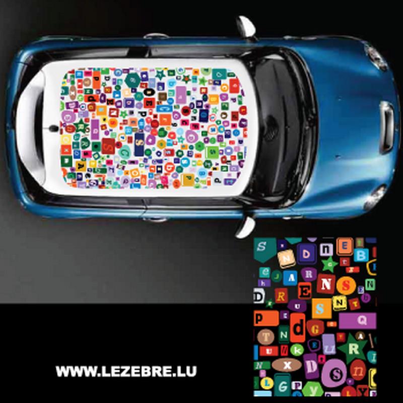 Sticker Deco Toit Auto Alphabet