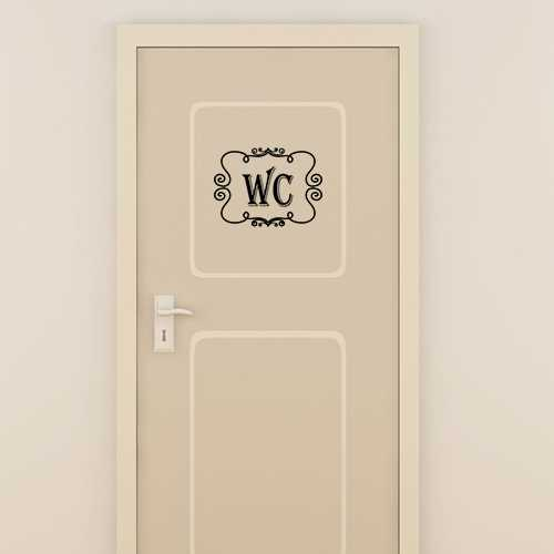 Vintage wc door decorative decal for Stickers wc porte