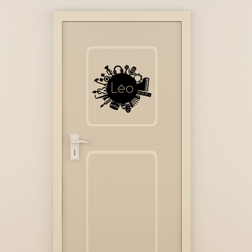 Sticker d co porte chambre gar on musique nom for Decoration pour porte de chambre
