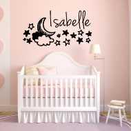 sticker chambre b b ciel nuit lune etoiles nom personnaliser. Black Bedroom Furniture Sets. Home Design Ideas