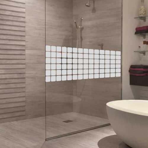 Square design shower door decal