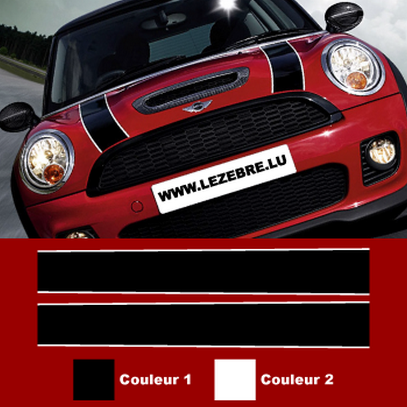 Sticker Bandes Mini Cooper Capot (90 cm de long)