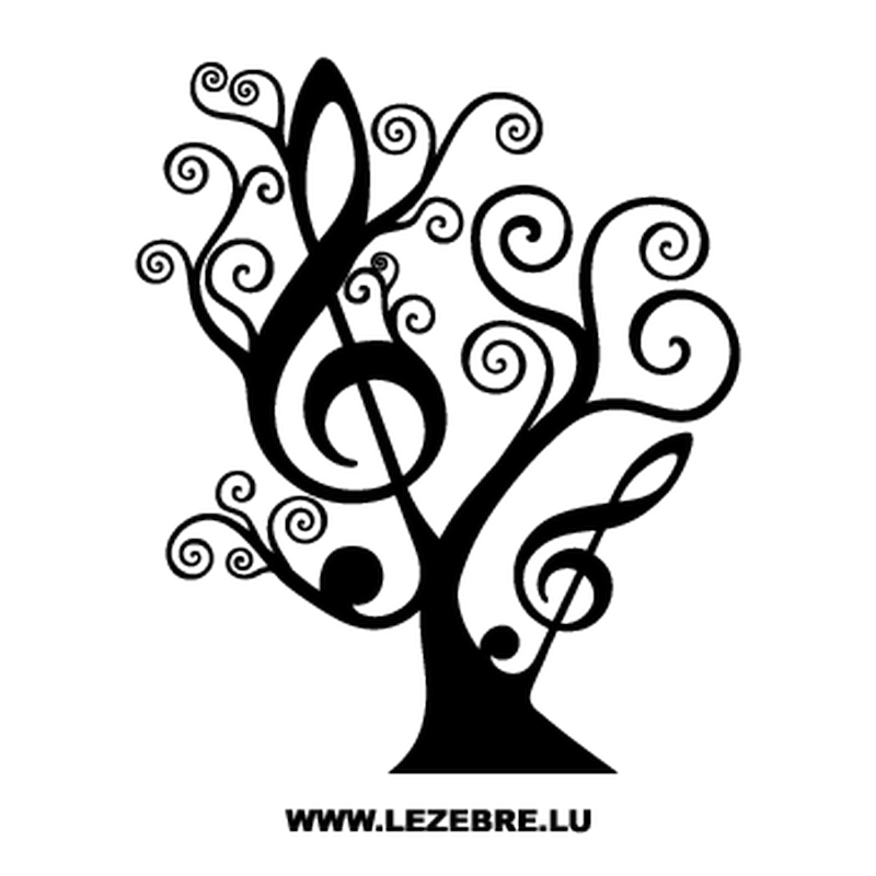 Floral Tree Treble Clef Decal