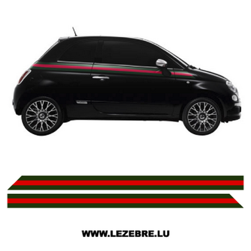 kit stickers bandes lat rales fiat 500 style gucci. Black Bedroom Furniture Sets. Home Design Ideas