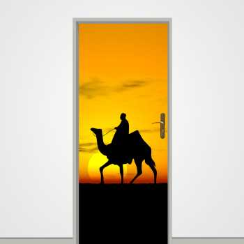 Desert sunset with camel door decal