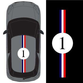 Car Roof France Stripe Number 1  Decal