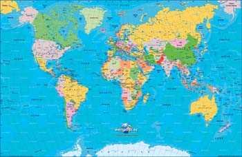 Sticker Wanddekoration Mappemonde Karte