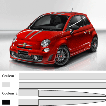 kit sticker fiat 500 abarth 695 tributo ferrari bandes capot toit et coffre en deux couleurs. Black Bedroom Furniture Sets. Home Design Ideas